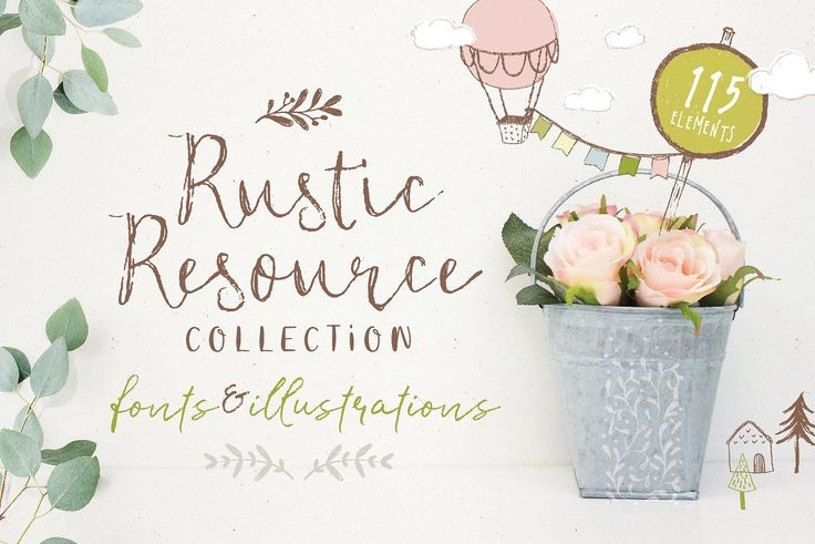 Ad: Featuring 4 unique fonts and 110 hand sketched illustrations, this carefully curated collection is packed full of rustic goodness. You'll be whipping-up gorgeous rustic-style designs in minutes. Perfect for branding, wedding invites, posters and planners. Creating a lovely farm style cottage-look will be a doddle with this set! $22