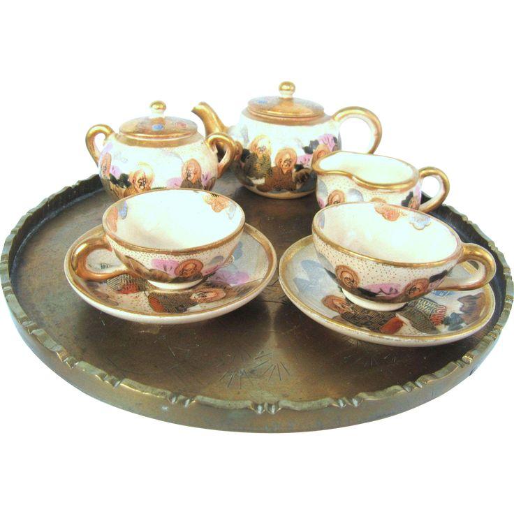 Meiji Era Japanese Satsuma Signed Miniature Tea Set The Immortals from oldstonemansion on Ruby Lane