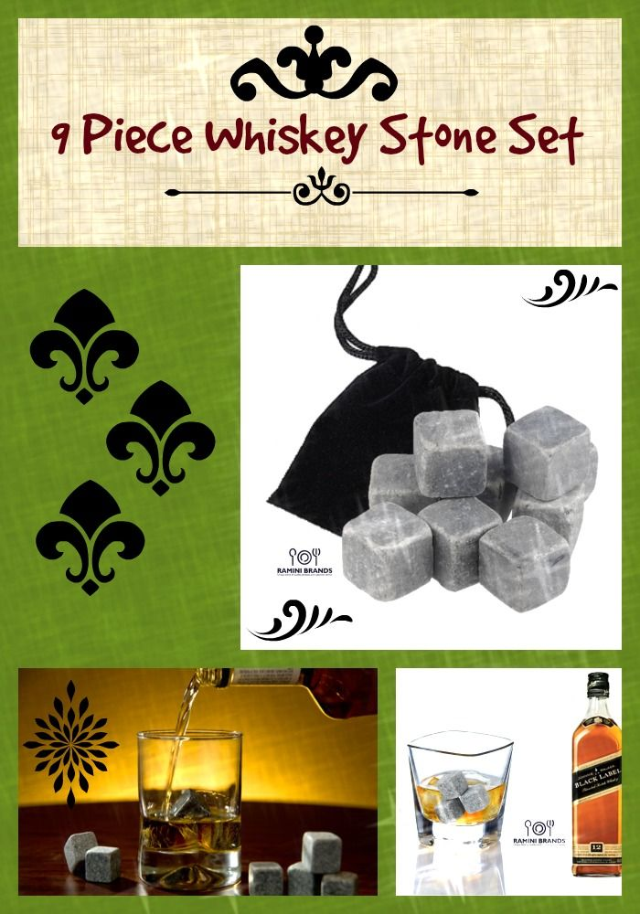 9 piece whiskey stones set with black velvet carry bag.  http://www.amazon.com/Ramini-Brands-Premium-Whiskey-Sipping/dp/B015BS7S0K/  Great gift for anyone on your list!