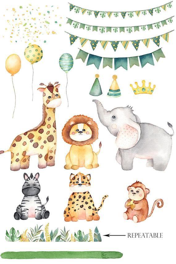 Watercolor Safari Animals Watercolor Clipart Jungle Animals Etsy In 2021 Safari Kids Watercolor Animals Safari Animals