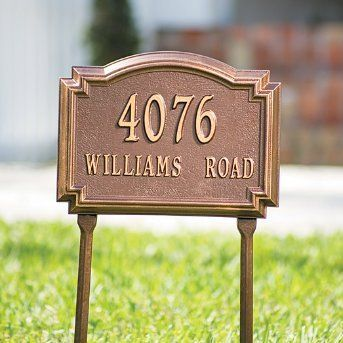 Williamsburg Standard-Size Address Plaques - Grandin Road by Grandin Road. $89.00. Harsh weather and passing seasons will have virtually no effect on the deep, rich colors. Oversized numbers are easy to read from a distance. Sand-cast aluminum with baked enamel finish retains the deep, rich colors, even in blistering sun, and resists rusting. Harsh weather and passing seasons will have virtually no effect on the deep, rich colors. Sand-cast aluminum with baked en...