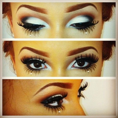 White smokey eye. Her eyelashes are insane.