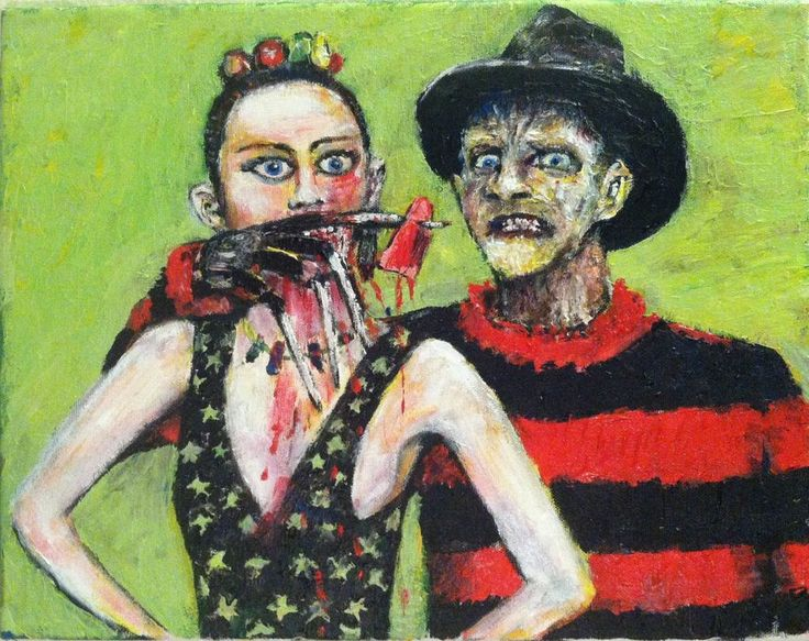 """Freddy Krueger / Miley Cyrus  Mash-up  11""""x14"""" acrylic on canvas, by Jack Larson #Abstract"""