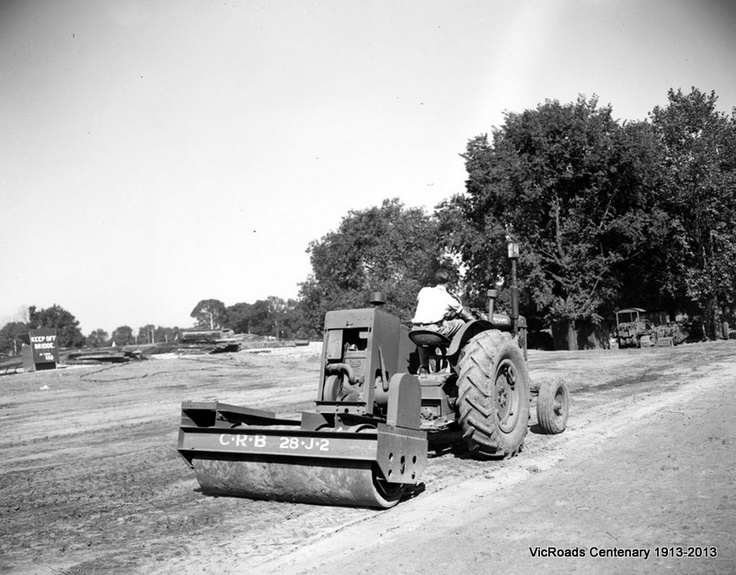 Vibrating roller at work in Alexandra Avenue at Swan Street Bridge. Melbourne 1951. VicRoads Centenary 1913-2013.