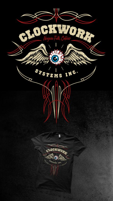 pinstriping, flying eyeball, eye, clockwork systems, pinstripe, kustom art, tshirt design, design, illustration, toronto, hot rod, custom