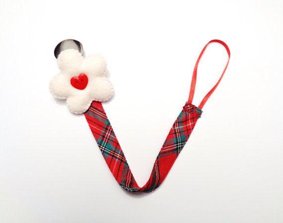 Pacifier clip, stuffed felt flower, tartan print, red green tartan cotton, little girl, baby shower, first birthday gift, Christmas gifts - by RobyGiup