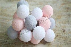 Гирлянда из хлопковых шариков розово-серая - фото 4640