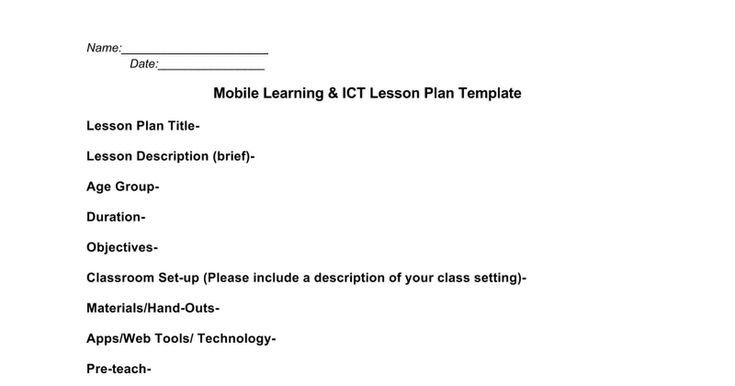 Mobile Learning  Ict Lesson Plan Template This Is A Template
