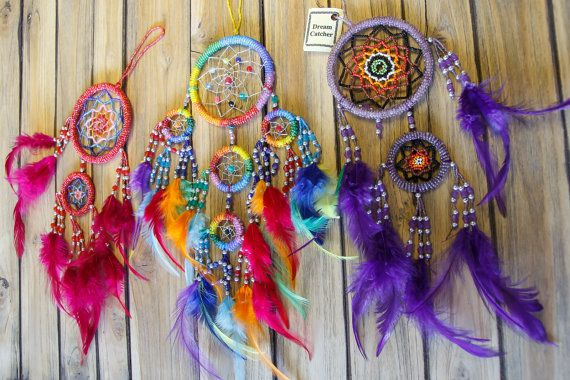 Dream Catcher/Beads work  with feather by CHEZMOIMYHOME on Etsy