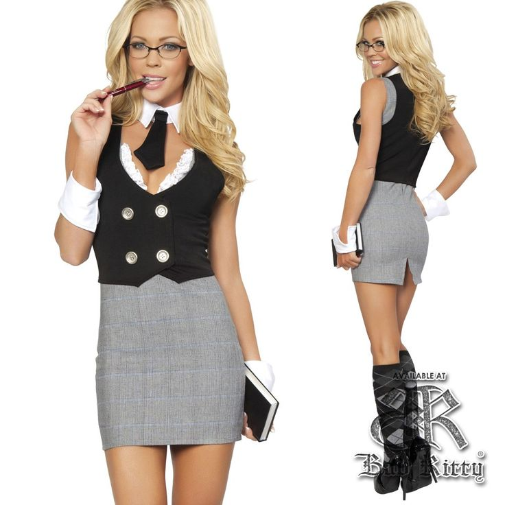 our lovely librarian costume is a dress with a vest with button and lace detail - Naughty Librarian Halloween Costume