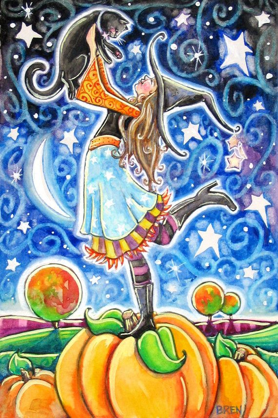 Bewitched - by Brenna White - witch black cat moon stars fall autumn halloween pumpkins