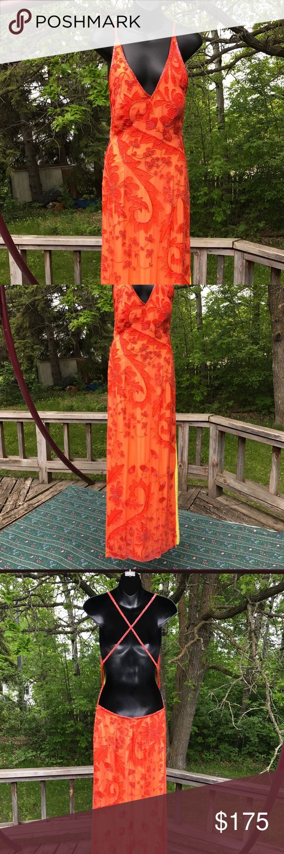 Sexy Orange Formal Dress Sexy beaded orange formal dress with a slit on the left and right legs and a yellow interior. Open back, the straps can either cross or be straight. Sean collection, size Large. Sean Collection Dresses Maxi
