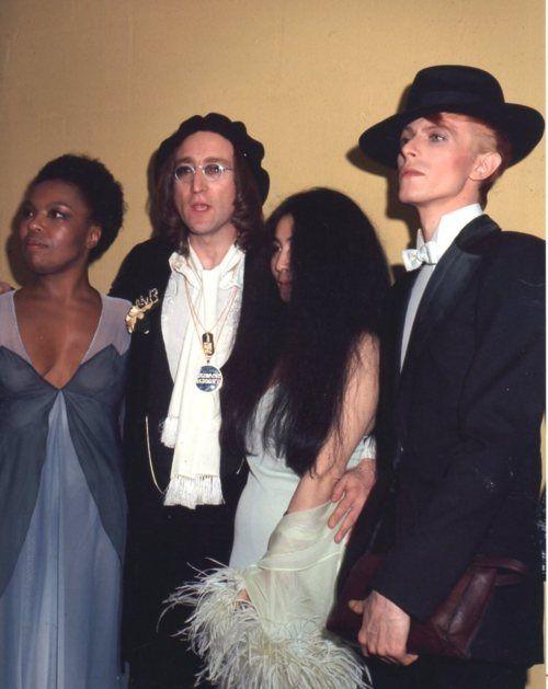 David Bowie with John Lennon, Yoko Ono and Roberta Flack, 1970s.