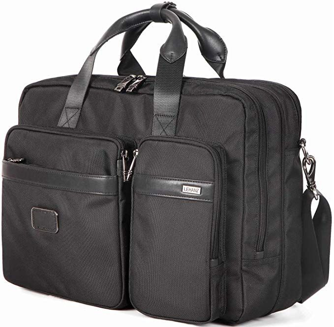 17 inch Laptop Bag Mens Briefcase Expandable Large Capacity Computer Bag for W