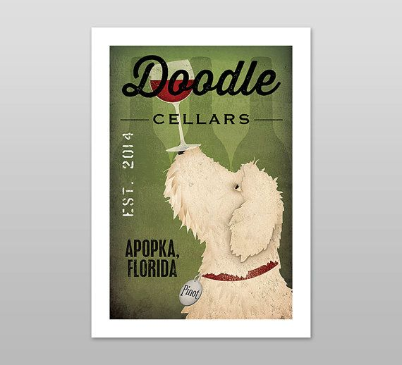 Customize your city and dogs name.    Goldendoodle/Labradoodle Wine Cellars Vineyards print by Ryan Fowler    This is a giclee print of my original