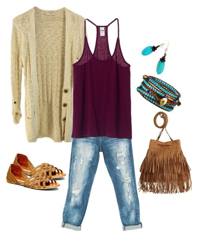 """""""Crochet cardigan, burgundy and turquoise color combinations outfit"""" by thalia-salinas ❤ liked on Polyvore featuring GUESS, Sans Souci, Steve Madden, Chan Luu and H&M"""