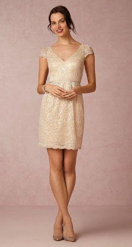 Gold lace bridesmaid dress at BHLDN