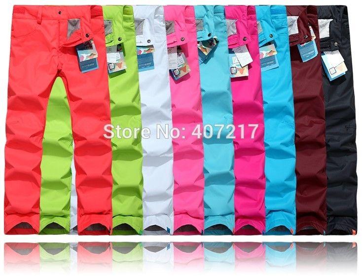 2015 womens ski pants female skateboarding pants autumn winter outdoor sports trousers waterproof breathable skiing trousers
