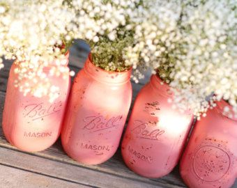 Distressed Mason Jars / Shabby Chic Decor Painted Glass Vase / Wedding Decoration / Wedding Centerpiece in Coral Pink by The Roche Shop