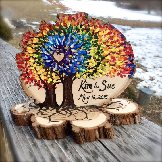 Custom Rainbow Colors Tie Dye Cake Topper hand painted on juniper wood