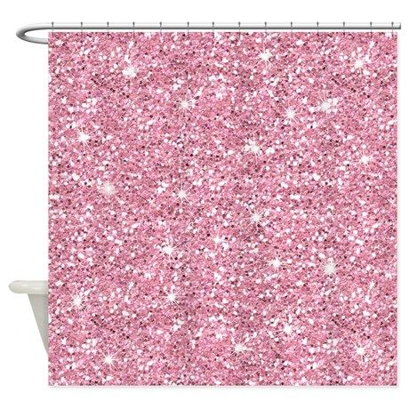 pink glitter shower curtain