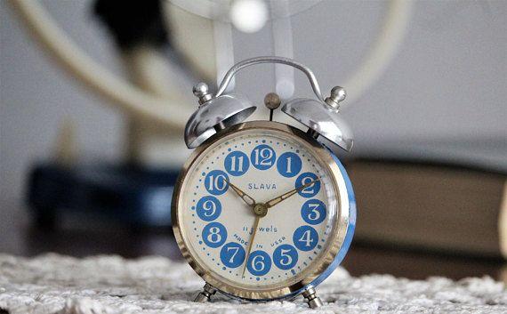 Small Retro Alarm Clock  Blue Russian Clock  USSR Vintage