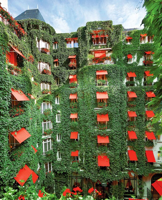 The lush facade of La Galerie du Plaza Athénée in #Paris. Read our feature on the best things to do in #Paris, #France: http://enroute.aircanada.com/en/articles/things-to-do-paris-france// La façade verdoyante de La Galerie du Plaza Athénée à Paris: http://enroute.aircanada.com/fr/articles/5-choses-a-faire-a-paris-france