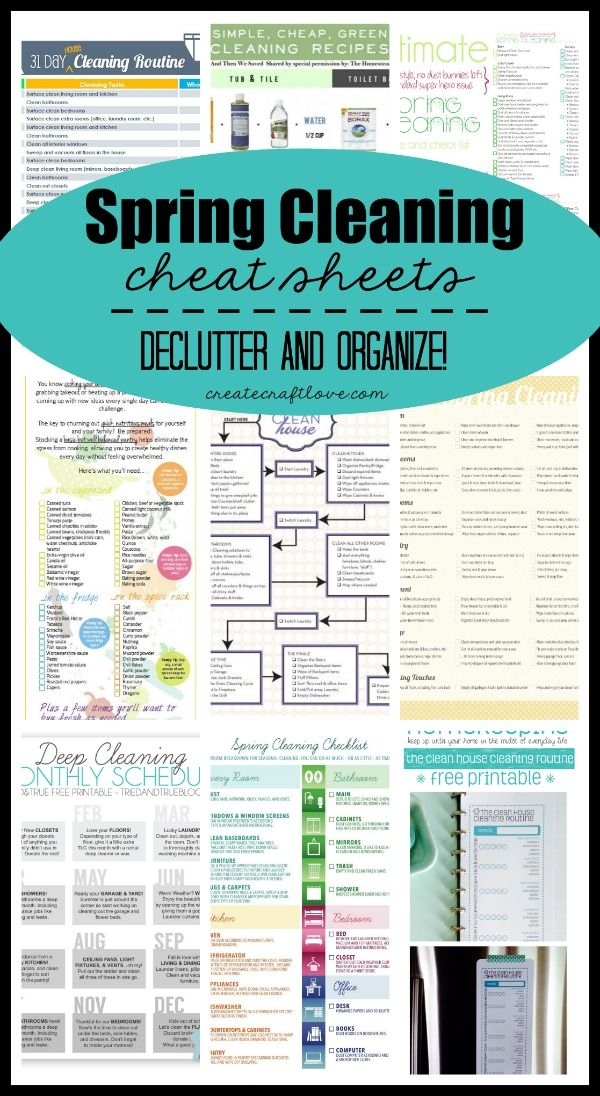 Spring Cleaning Cheat Sheets   everything you need to declutter and organize this spring  Organize and clean your whole house