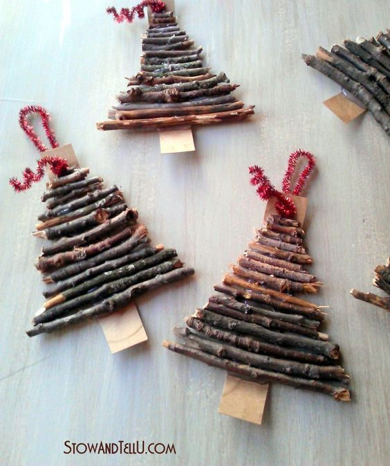 alberelli rustici con legnetti:
