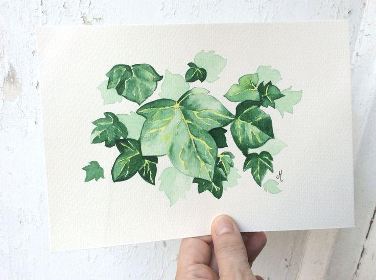 Peinture à laquarelle feuilles aquarelle art par MusettayMimi