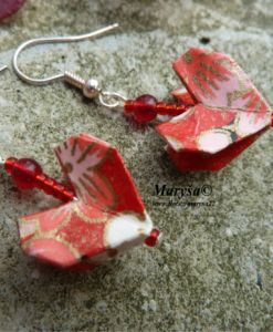 Heart origami earrings.