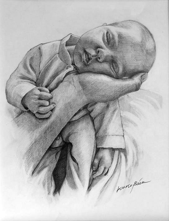 Dibujo beb durmiendo en la mano de su padre 50x70 cm Lpiz