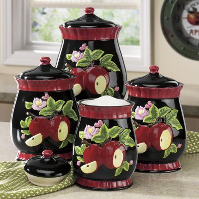 512 best kitchen canisters images on pinterest canister sets kitchen canisters and kitchen jars for Home interiors apple orchard collection