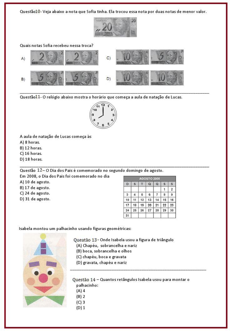 Avaliação de Matemática – 4º ano | Sala de Aula – Profª Rérida