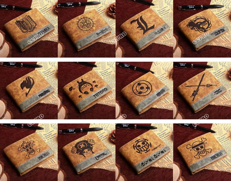 PU wallet của Anime Black Butler/Death Note/Fairy Tail/Naruto/One Piece Luật VV