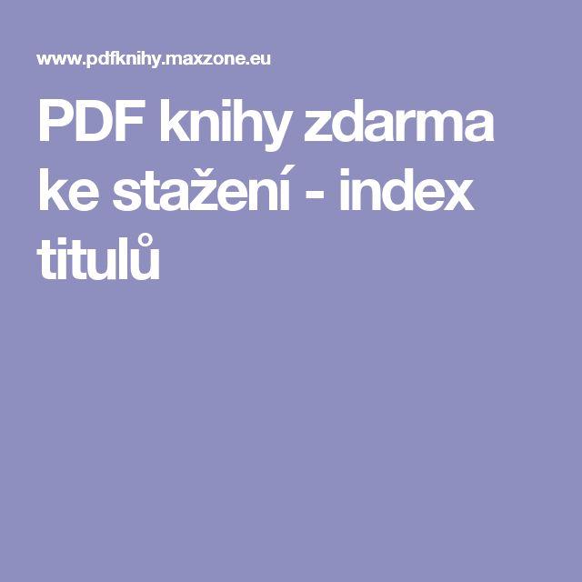 PDF knihy zdarma ke stažení - index titulů
