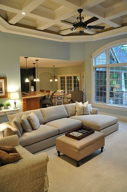 Love the ceiling!: Wall Colors, Big Window, Dreams Houses, Living Rooms, Open Spaces, Paintings Colors, Family Rooms, High Ceilings, Families Rooms