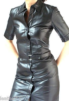 THEORY BLACK GLAZED LEATHER CALFSKIN  DRESS - size S