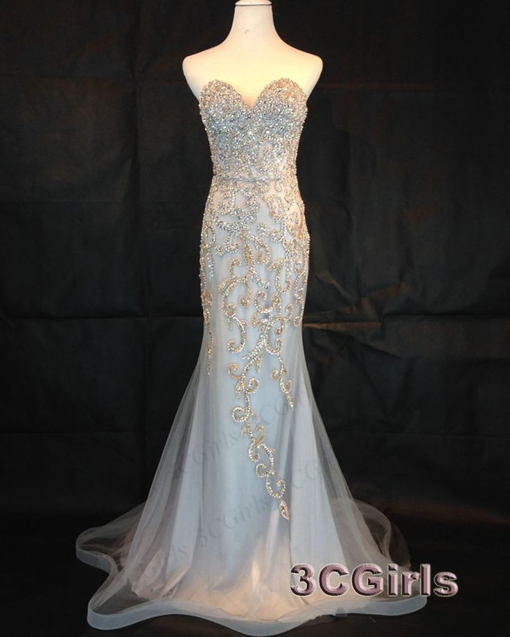 Mermaid prom dress, sweetheart ball gown 2016, handmade beautiful beaded strapless long evening dress for teens http://www.3cgirls.com/#!product/prd1/4264598015/beautiful-beaded-strapless-long-mermaid-prom-dress