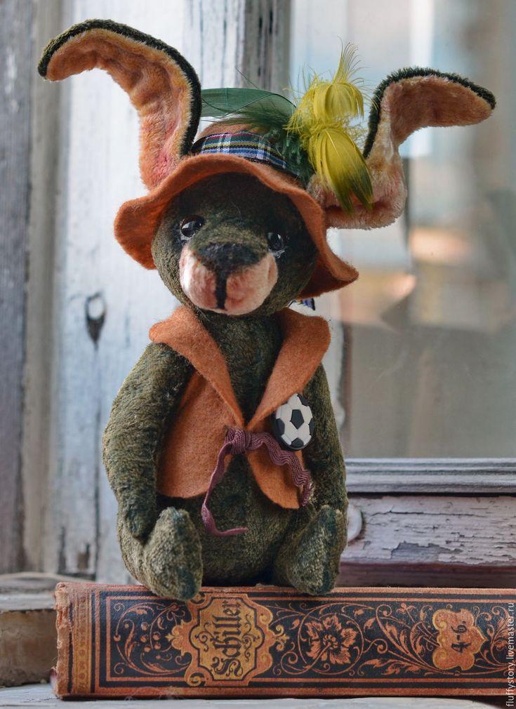 Купить Друзья тедди - Заяц Том - тёмно-зелёный, мишки тедди винтаж, друзья тедди