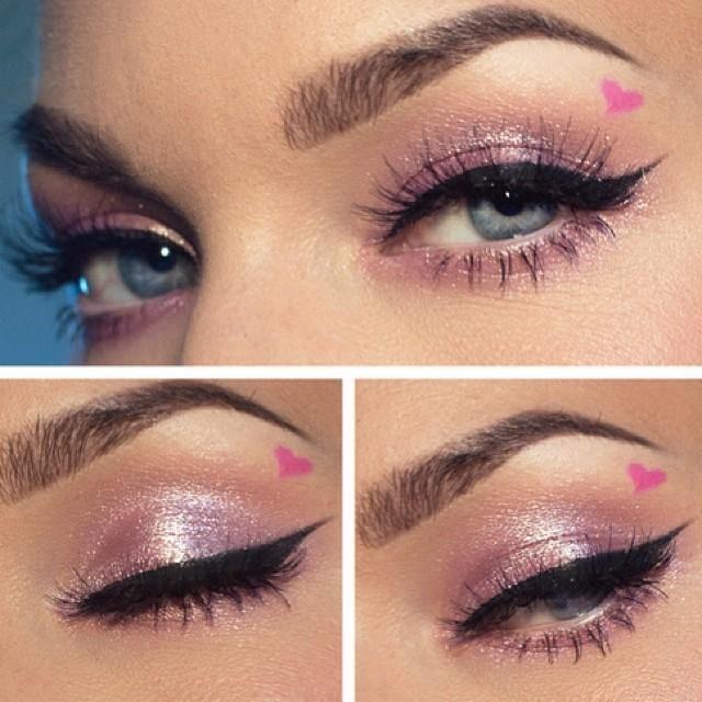 Pink heart makeup