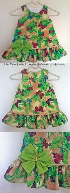 Vestido Trapézio Floresta Tropical - 2 anos - - Rain Forest  Dress - 2 years - - - - baby - infant - toddler - kids - clothes for girls - - - https://www.facebook.com/dona.fada.moda.para.fadinhas/