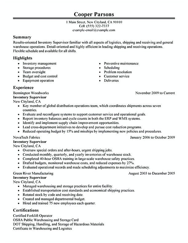 Inventory Supervisor Warehouse And Production Inventory Manager Resume To Apply Inventory Manager You Shoul Resume Examples Resume Skills Warehouse Resume