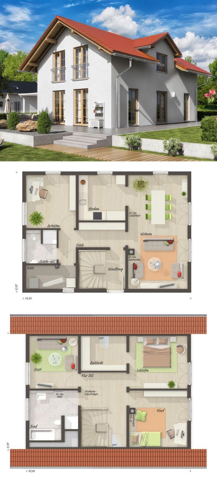 Einfamilienhaus Neubau im Landhausstil Grundriss m…