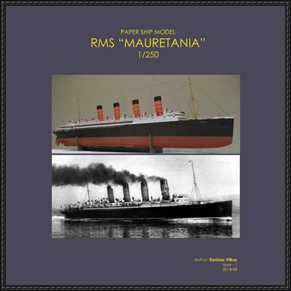 RMS Mauretania (1906) Free Ship Paper Model Download - http://www.papercraftsquare.com/rms-mauretania-1906-free-ship-paper-model-download.html