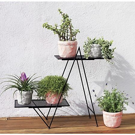 Angled matte black plant stand | cb2