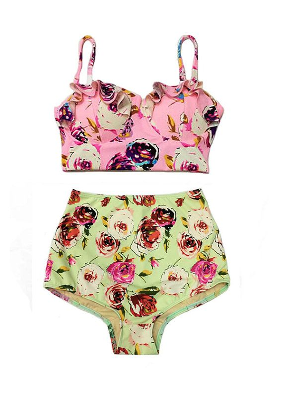 Pink Pastel Rose Midkini Top and Green Pastel Rose High Waisted Shorts  Vintage Retro Bikini-  Im in love with these!!