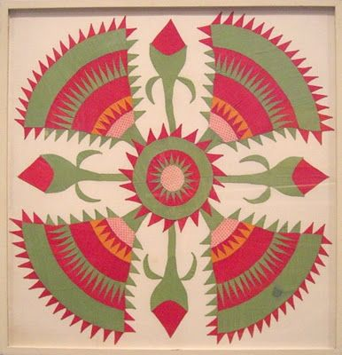 framed Cactus Rose quilt block from Pennsylvania is on display at the American Folk Art Museum. The maker is unknown, dated 1855-1865