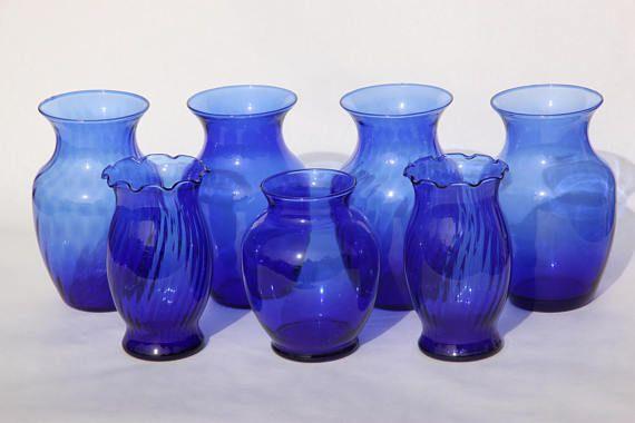 7 Cobalt Blue Glass Vases Blue Glass Vase Collection Of 7 Blue