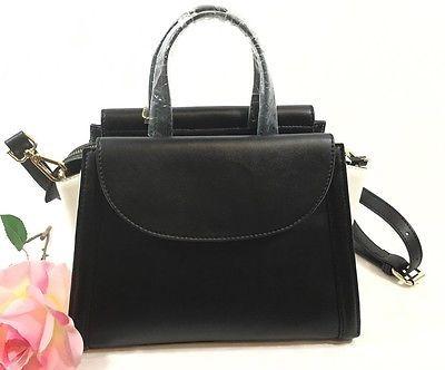 Black & White Italian Leather  Satchel Converts Cross  Body  Black Label By KG&B